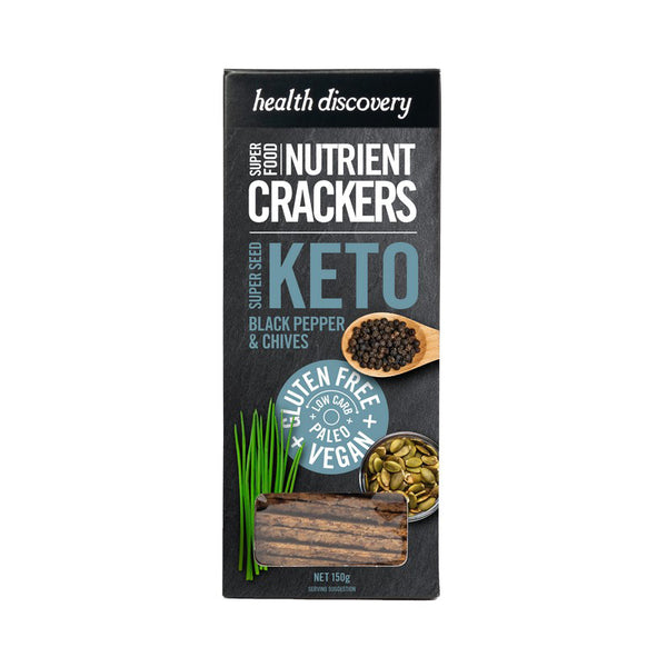 Keto Superseed Black Pepper & Chives Crackers : 150g