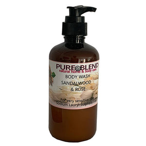 Pure Blend Sensitive Skin Body Wash Sandalwood & Rose Made in New zealand