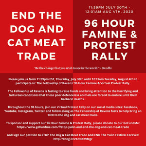UPDATE - 96 Hour Famine & Virtual Protest Rally