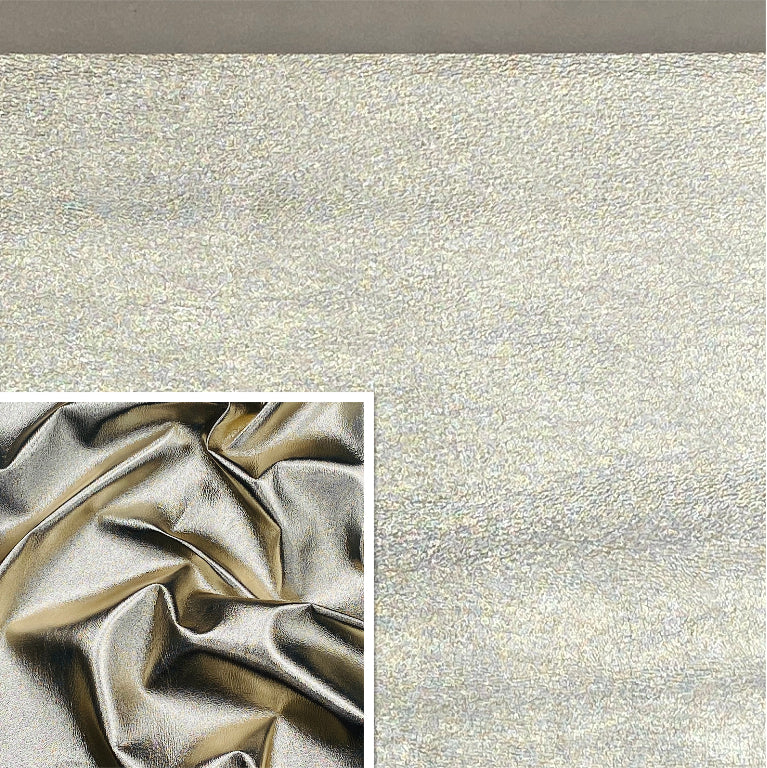 White Gold Metallic Affect Foiled Leather Pig skin : (0.6-0.7mm 1.5oz) Perfect for Leather Garments , Leather Crafts , Leather Accessories , Leather Pillows.