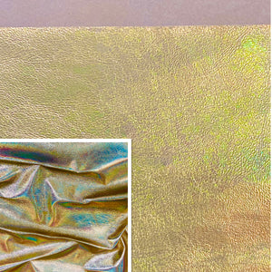 Rainbow Gold Iridescent Metallic Affect Leather Pig Skin : (0.6-0.7mm 1.5oz) Perfect For Leather Garments , Leather Crafts , Leather Accessories , Leather Pillows.