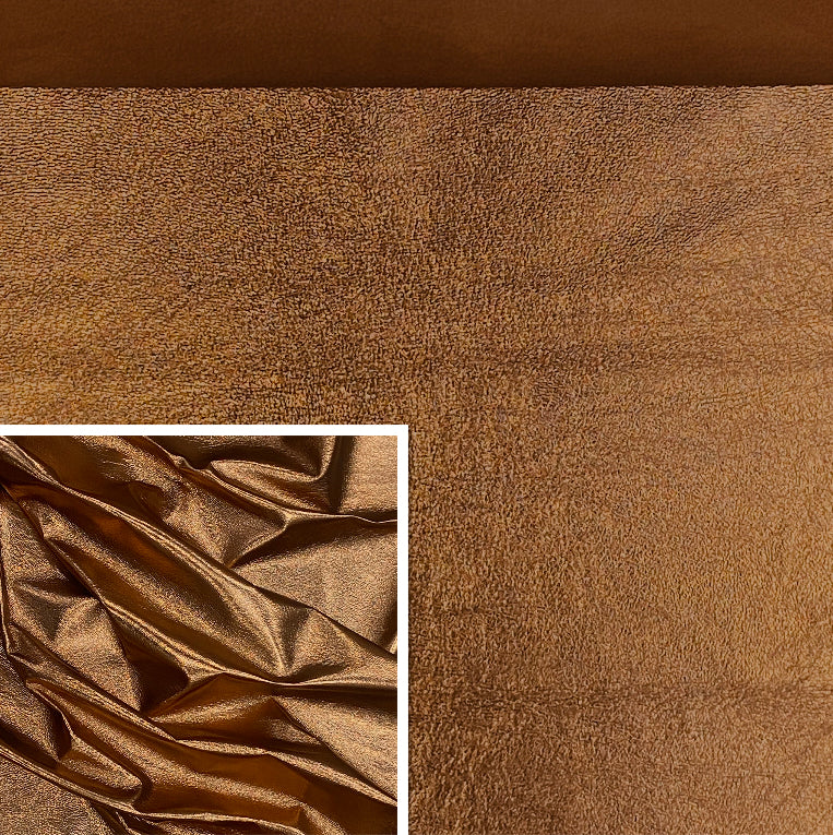 Copper Bronze Metallic Affect Foiled Leather Pig Skin : (0.6-0.7mm 1.5oz) Perfect For Leather Garments , Leather Crafts , Leather Accessories , Leather Pillows.