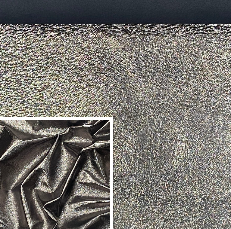 Dark Silver Metallic Affect Foiled Pig Skin : (0.6-0.7mm 1.5oz) Perfect For Leather Garments , Leather Crafts , Leather Accessories , Leather Pillows.