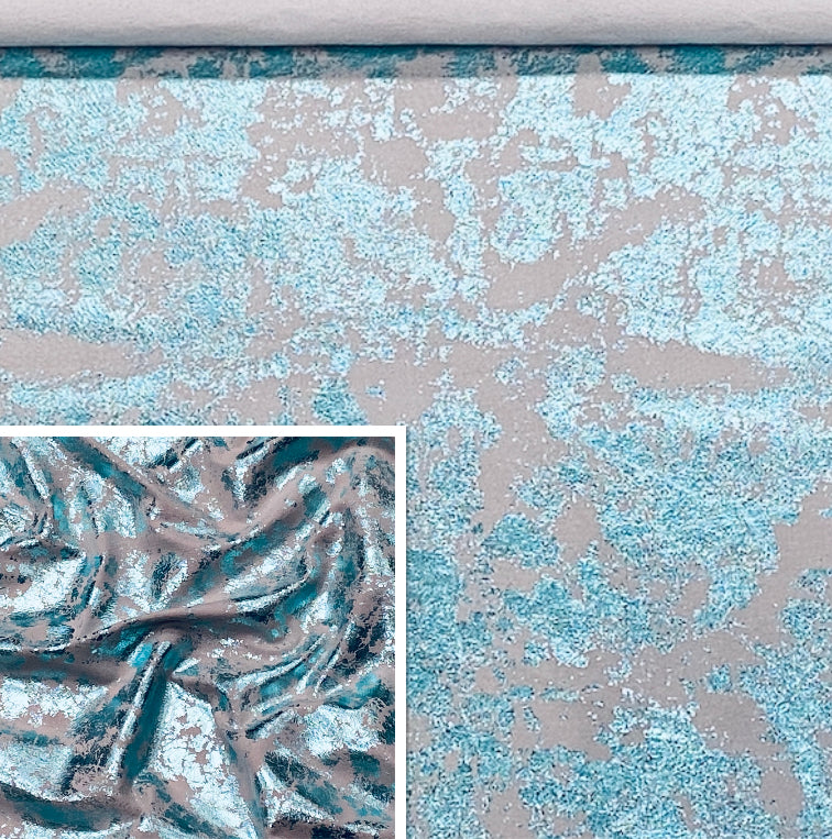 Blue Green Distressed Metallic Affect Foiled Pig Skin : (0.6-0.7mm 1.5oz) Perfect For Leather Garments , Leather Crafts , Leather Accessories , Leather Pillows.