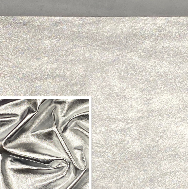 Foiled Lambskin Silver : Italian Foiled Leather Skin (0.6-0.7 mm 1.5oz). Perfect for Clothing, Leather Jackets, Leather Crafts, Leather Handbags
