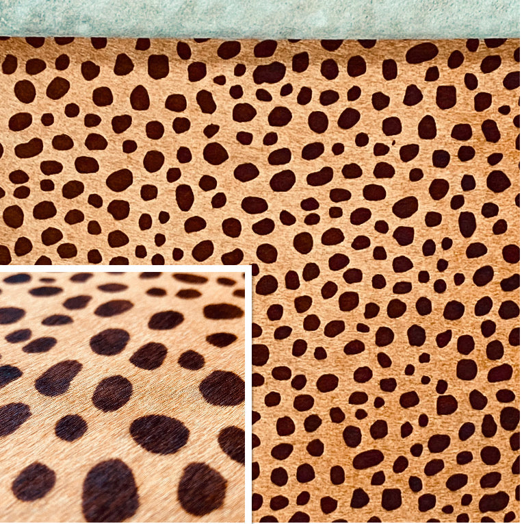 Hair On Hide Brown On Beige Cheetah Print Cow Hide : (1.2-1.4mm 3oz) This Hide Is Perfect For Leather Bags & Leather Accessories.