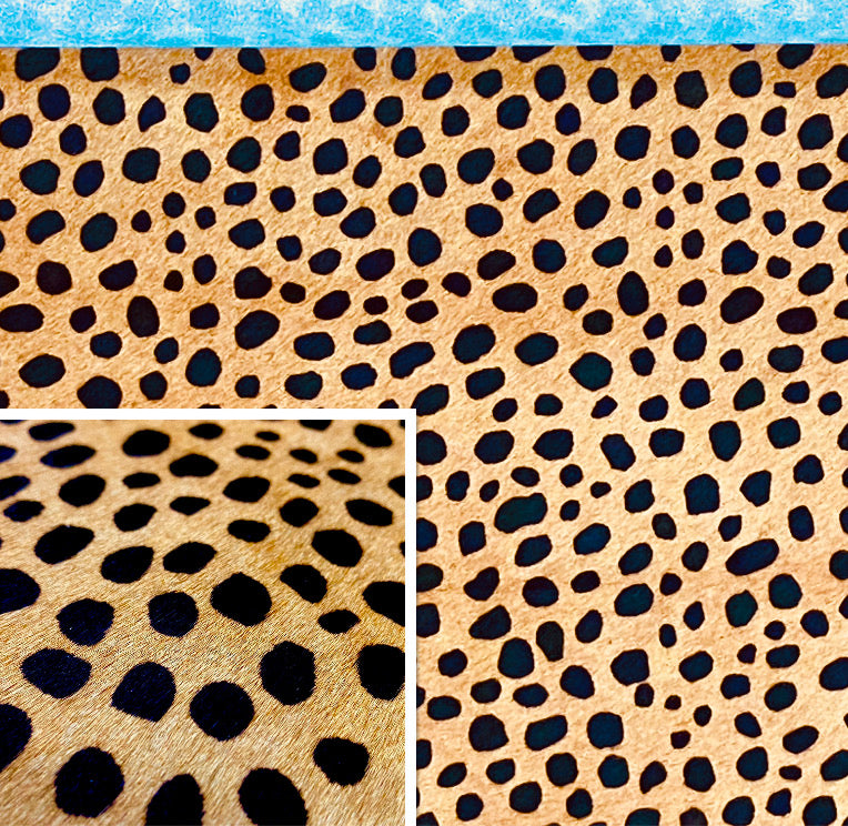 Hair On Hide Black On Beige Cheetah Print Cow Hide : (1.2-1.4mm 3oz) This Hide Is Perfect for Leather Rugs, Leather Bags, Leather Crafts.