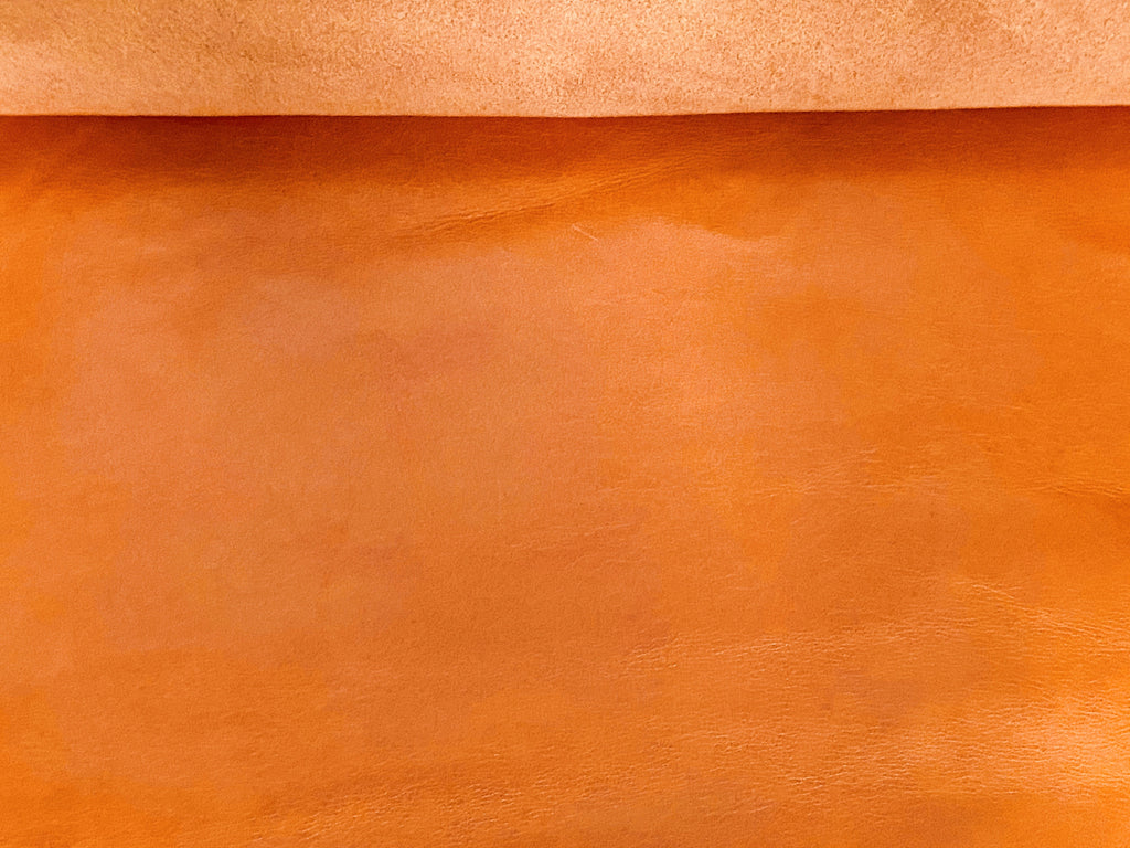 Canada Mango Orange Natural Grain Glazed Leather Cow Hide : (0.9-1.0mm) This Hide Is Perfect For Leather Crafts , Leather Upholstery , Leather Bags , Leather Accessories.