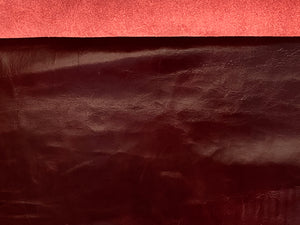 Canada Burgundy Red Natural Grain Glazed Leather Cow Hide : (0.9-1.0mm) This Hide Is Perfect for Leather Crafts, Leather Upholstery , Leather Bags , Leather Accessories.