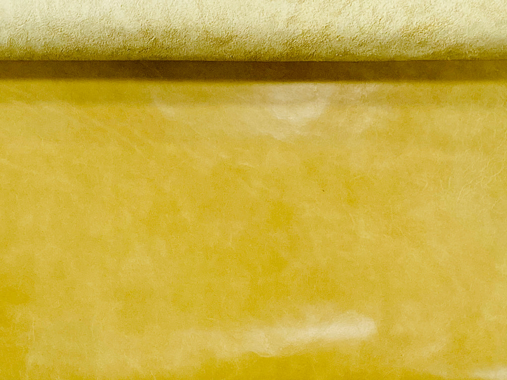 Canada Lemon Yellow Natural Grain Glazed Leather Cow Hide :0.9-1.0mm) This Hide Is Perfect for Leather Crafts , Leather Upholstery  , Leather Bags , Leather Accessories.