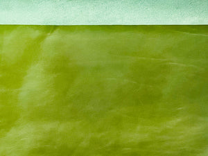 Canada Spring Green Natural Grain Glazed Leather Cow Hide :(0.9-1.0mm) This Hide Is Perfect for Leather Crafts Leather Upholstery , Leather Bags , Leather Accessories.