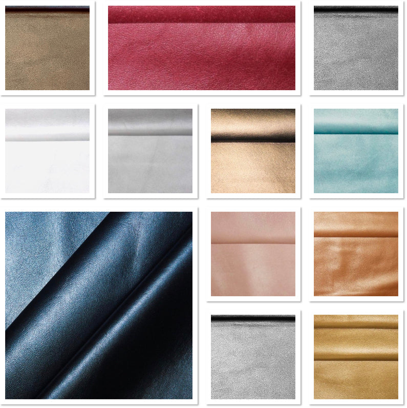 Metallic Baby Blue Leather Skin: Italian Nappa Lambskin (0.6-0.7 mm). Perfect for Clothing, Leather Jackets, Leather Crafts, Leather Handbags.