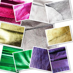 Foiled Lambskin Silver : Italian Foiled Leather Skin (0.6-0.7 mm). Perfect for Clothing, Leather Jackets, Leather Crafts, Leather Handbags