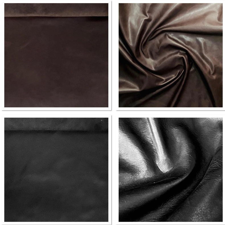 Oily Black Buffed Leather Cow Hide : (0.9-1.1mm) This Hide Is Perfect for Leather Crafts , Leather Bags , Leather Accessories.