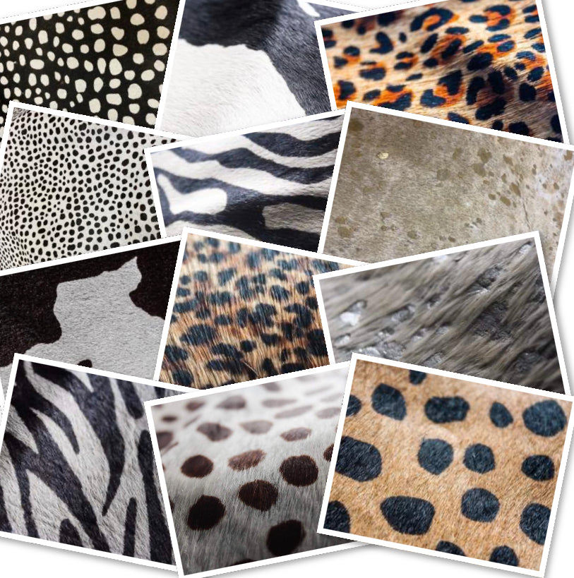Hair On Hide Cheetah Black on White : (1.2-1.4mm) This Hide Is Perfect For Leather Bags , Leather Accessories.