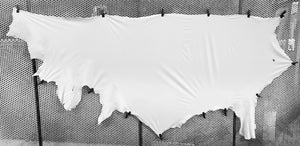 White Japanese Plonge Leather Cow Side : (0.5-0.6mm) This Hide Is Perfect For Leather Garments, Leather Crafts & Leather Accessories.