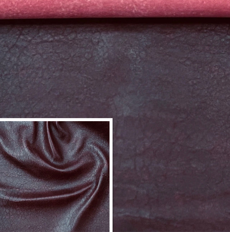 Antique Burgundy Leather Skin : Distressed Lambskin (0.7-0.8mm 2oz) , Perfect for Clothing , Leather Jackets , Leather Crafts , Leather Accessories.