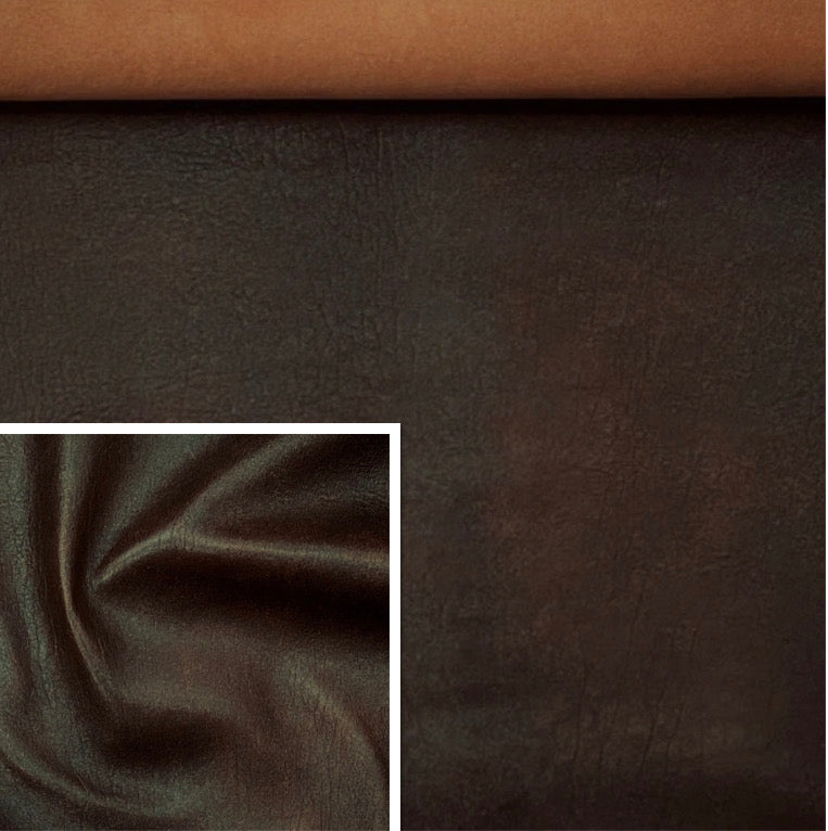 Antique Brown Leather Skin: Distressed Lambskin (0.7-0.8mm 2oz)  Perfect for Clothing ,Leather Jackets , Leather Crafts , Leather Accessories.