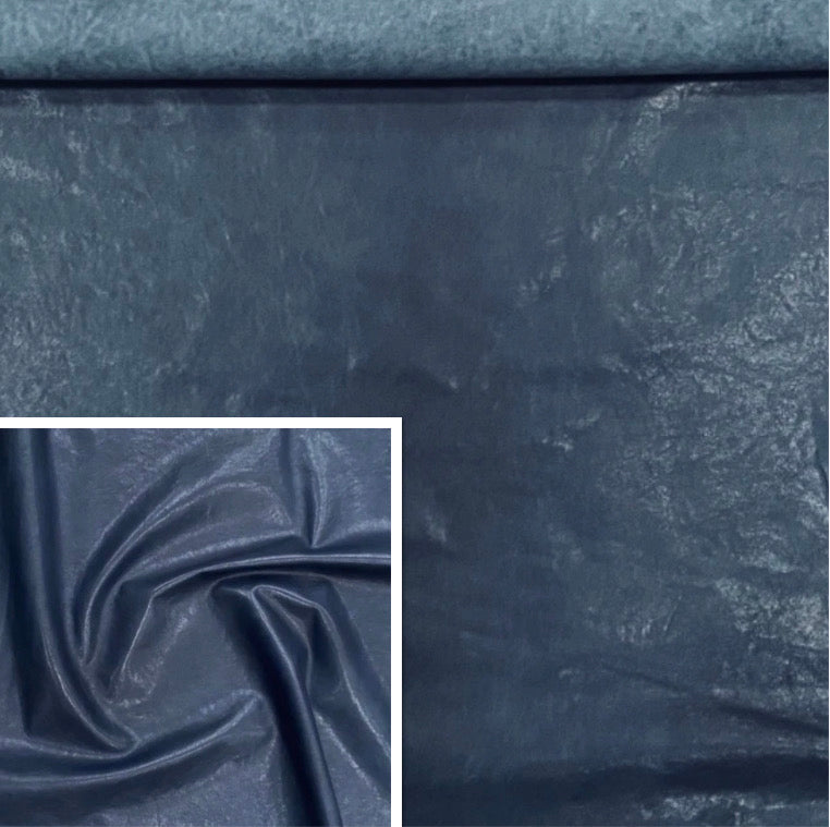 Veg Tan Lamb Denim Blue Leather Skin : Vegetable Tanned Lambskin (0.7-0.8mm). Perfect for Clothing, Leather Jackets, Leather Crafts, Leather Handbags.