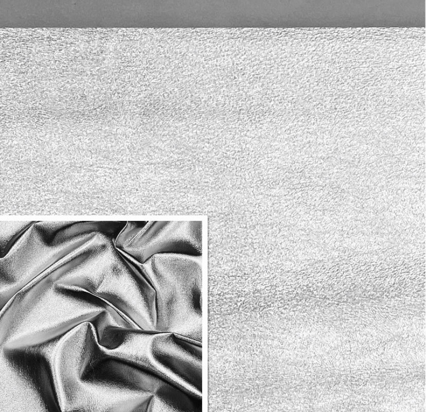 Silver Metallic Affect Foiled Leather Pig Skin : (0.6-0.7mm 1.5 oz) Perfect For Leather Garments , Leather Crafts , Leather Accessories , Leather Pillows.