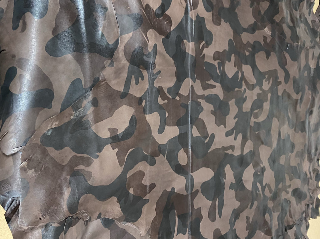 Lamb Nappa Camouflage Brown, size approximately 7-9sq ft (0.7-0.8m2).
