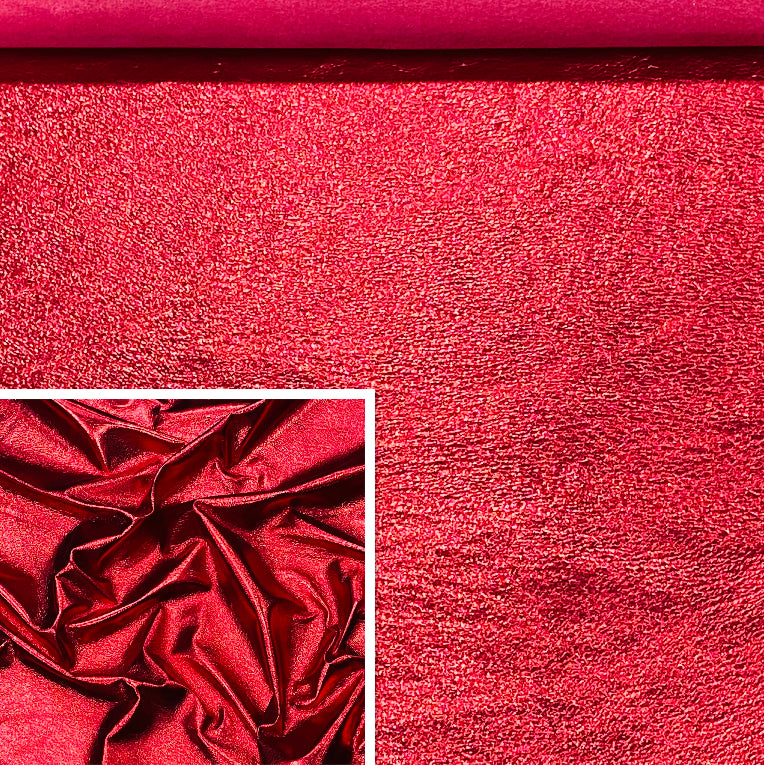Poppy Red Metallic Affect Leather Pig Skin : (0.6-0.7mm 1.5oz) Perfect For Leather Garments , Leather Crafts , Leather Accessories , Leather Pillows.