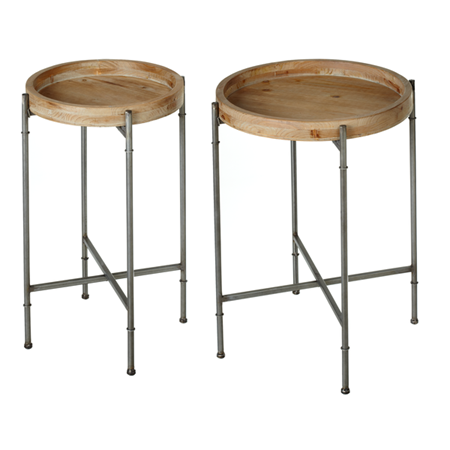 WOODEN TRAY TABLE WITH GREY LEGS