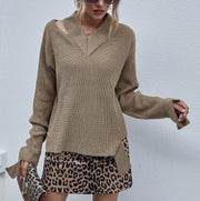 Loophole Fluorescent Color Knitted Bottoming Shirt British Style Loose V-neck Pullover