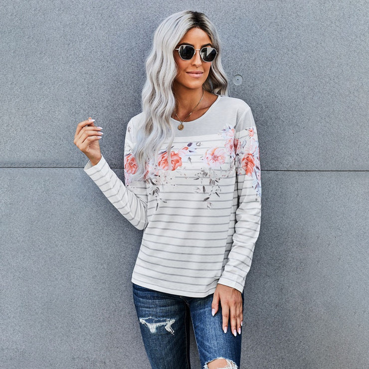 Floral Striped Print Long Sleeve Top sweatershirt