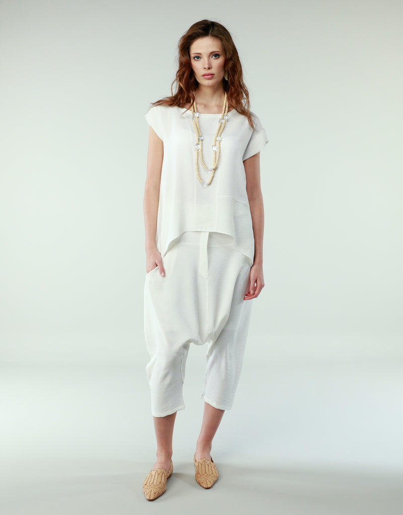 White Tunic Folded Half Sleeve