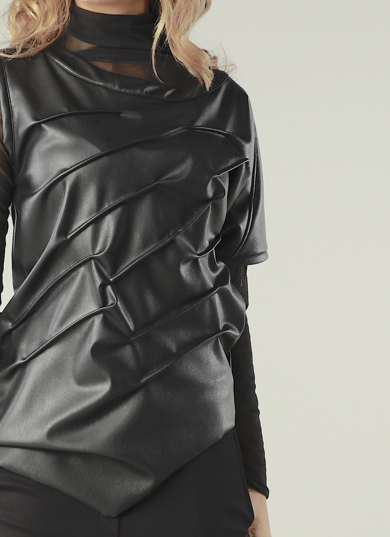 Leather Layered Blouse