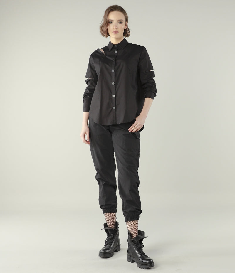 Zipper Sporadic Detailed Black Blouse