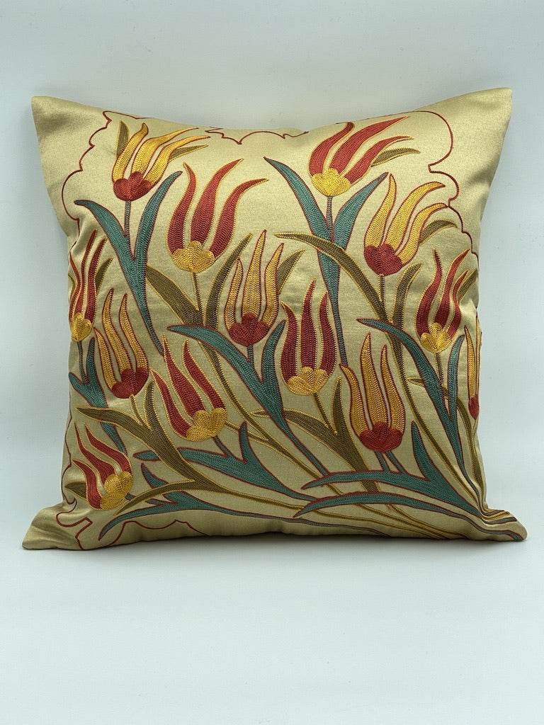 Suzani Cushion Pillow Cover Silk on Cotton
