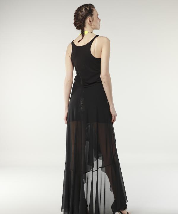 Long Skirt High Waist Simple Black
