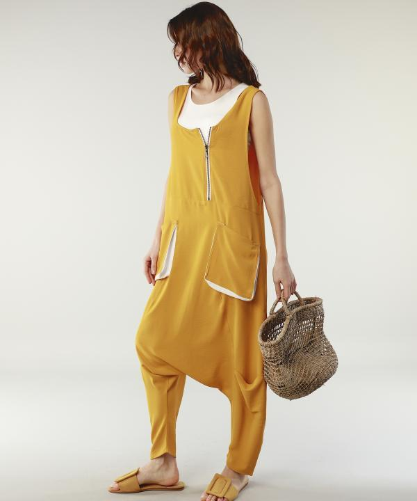 Tangerine Jumpsuit with White Accent