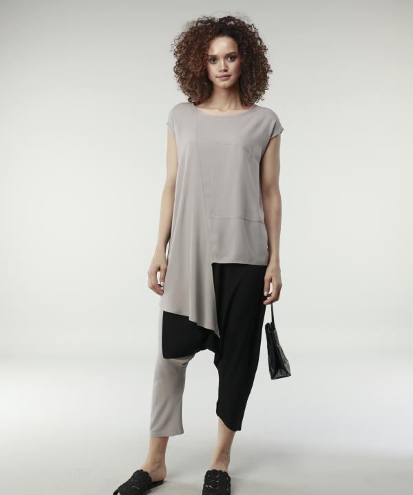 Contrast - Tunic Asymmetrical Mink Blouse
