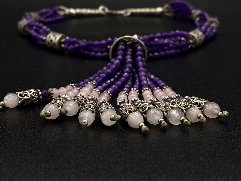 Handmade Aleppo Antique Necklaces - Amethyst Byzantine Beaded Necklace