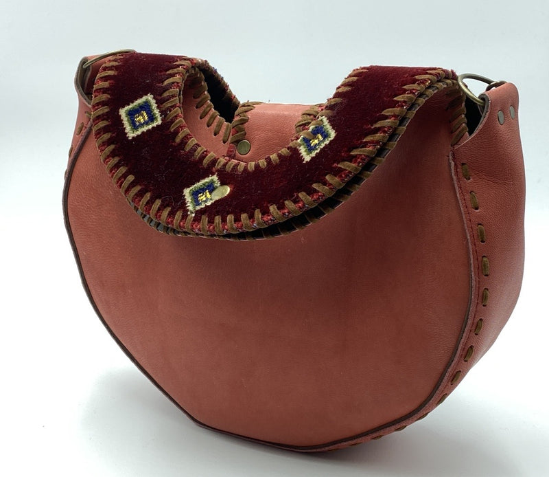 Side Bag Vintage Moon Kilim Leather Bag