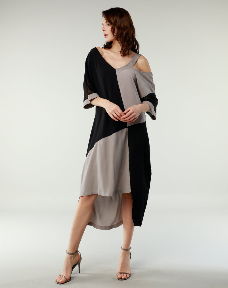 Cold Shoulder Translucent Shoulder Dress