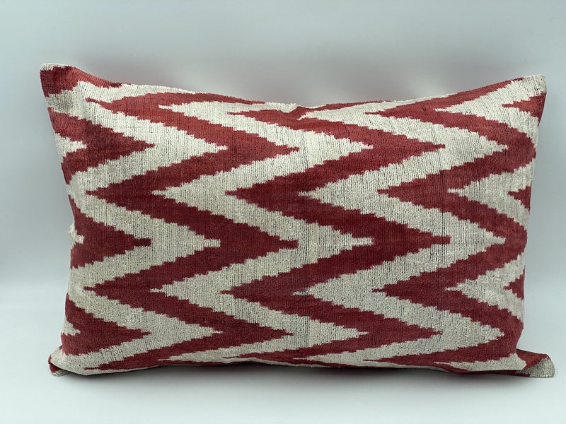 Velvet Double IKAT Silk Back Cushion Cover (60*40) CM
