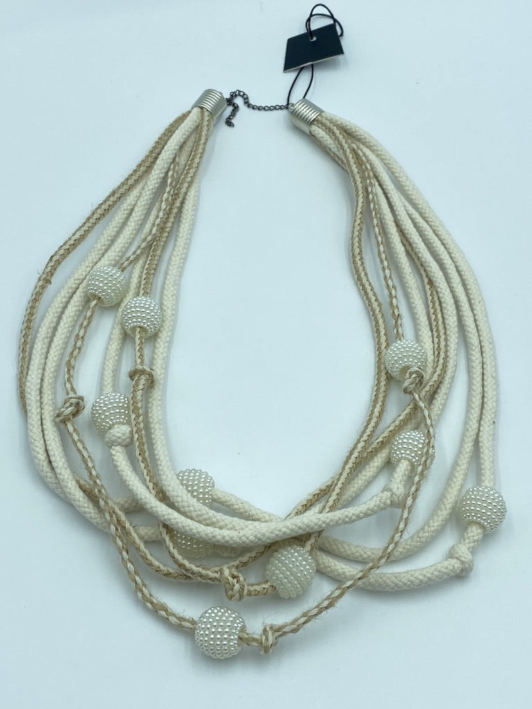 White Knot Fabric Necklaces Avant-Garde