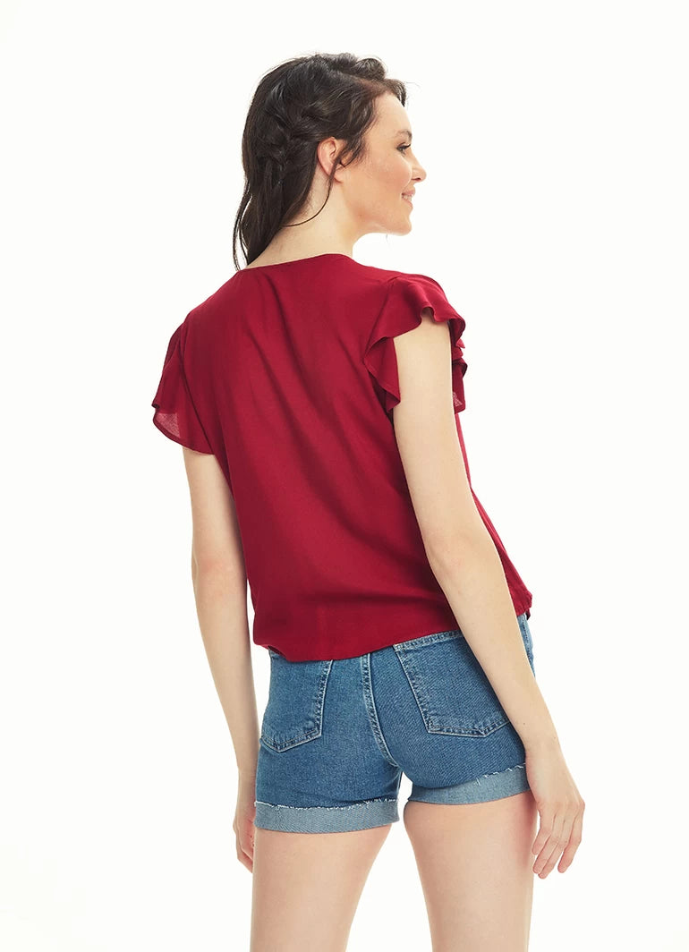 Tie Front Ruffle Sleeve Top | Black Olive Maroon |