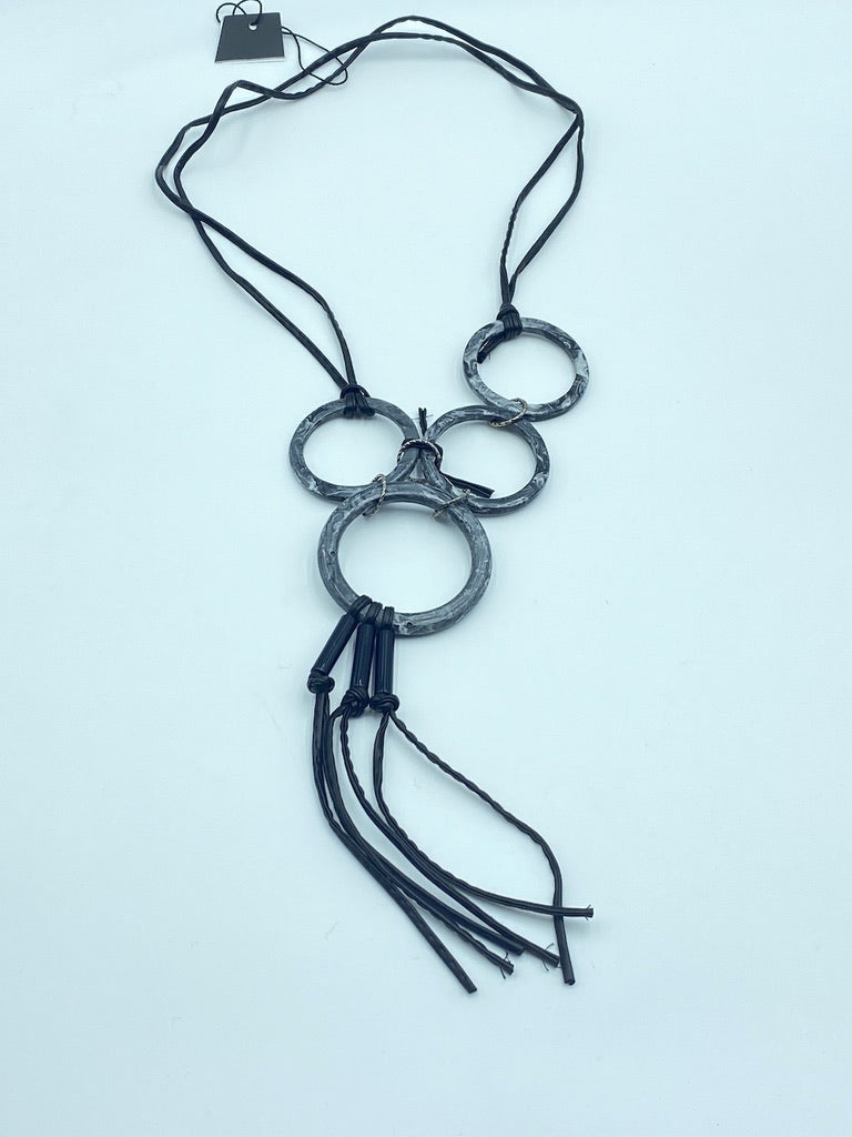 Faded Circles Gray Fabric Necklaces Avant-Garde