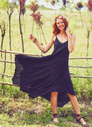 Color Block Black Asymetrical Hem Dress Adjustable - Mawlana Cashmere & Silk
