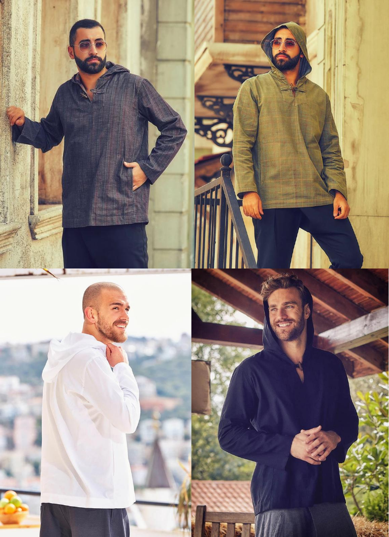 Wooden Button Detailed Men's Hoodie Long Sleeve Turkish Cotton Shirt