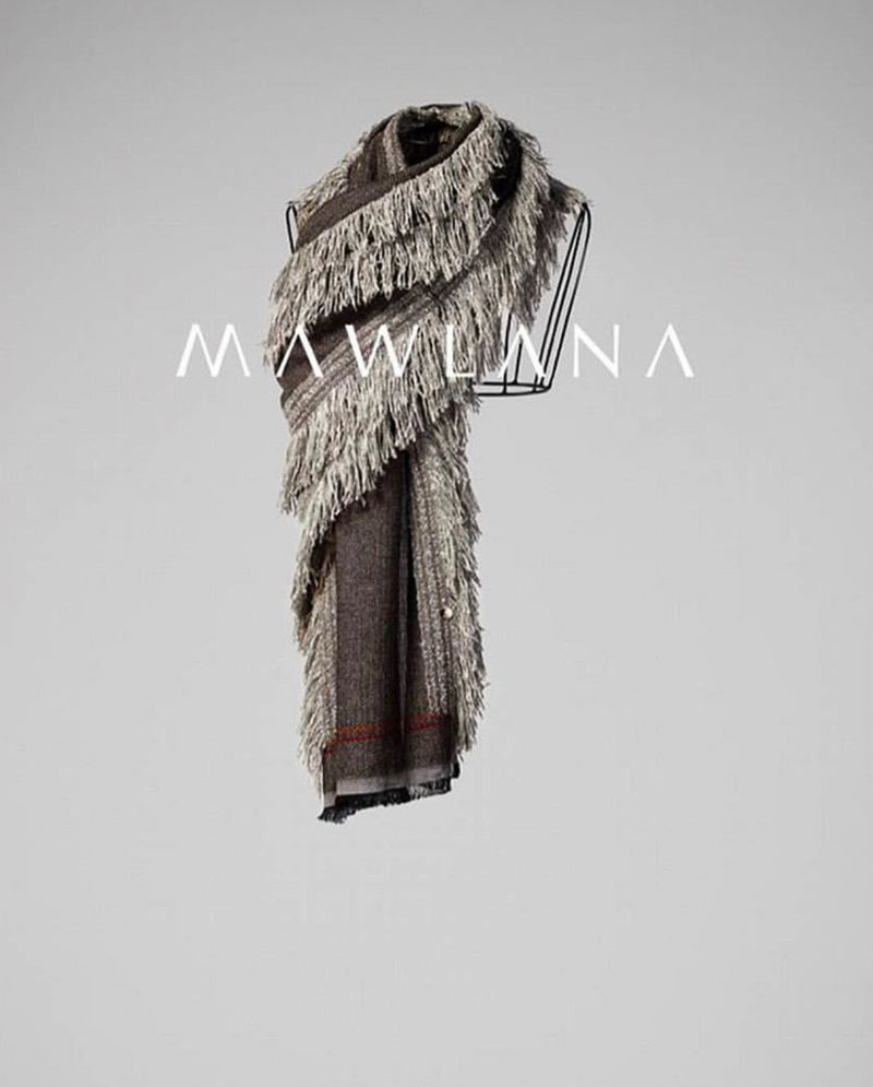 Boil Wool with Fringes Scarf - Mawlana Cashmere & Silk