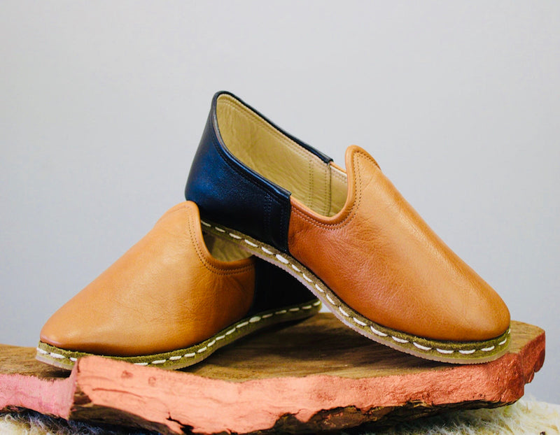 Black & Brown Handmade Leather Shoes - Mawlana Cashmere & Silk