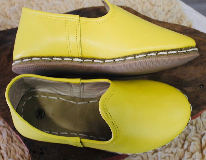 Yellow Handmade Leather Shoes - Mawlana Cashmere & Silk