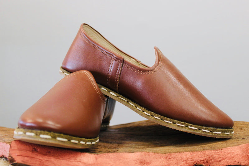 Coffee Handmade Leather Shoes - Mawlana Cashmere & Silk
