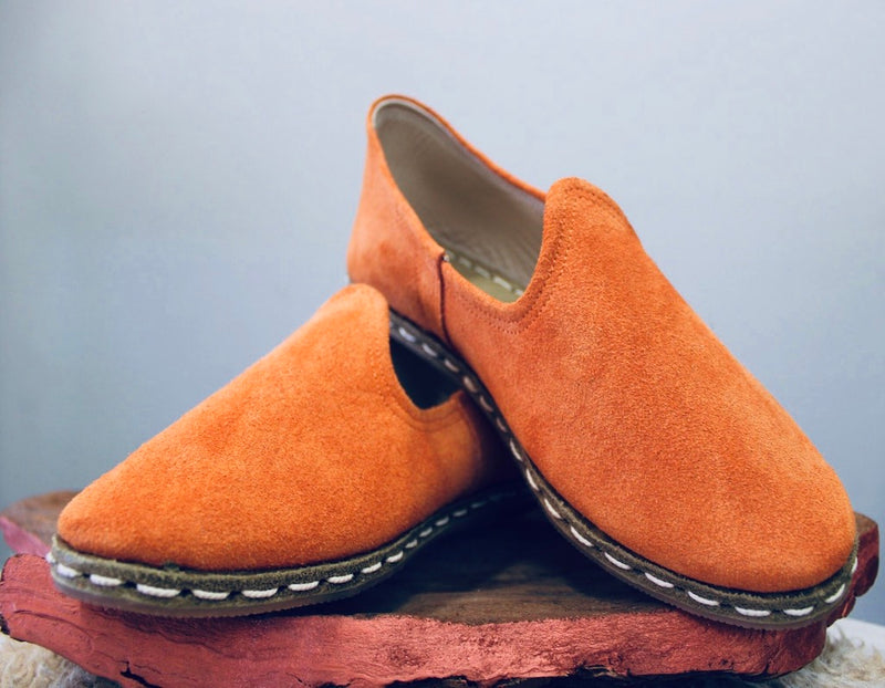Suede Chamoix Cumin Handmade Leather Shoes - Mawlana Cashmere & Silk